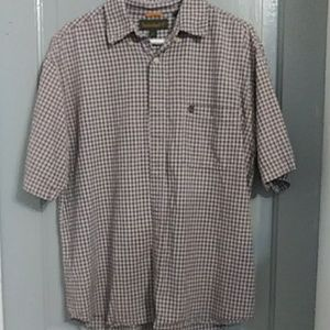 'TIMBERLAND' PLAID BUTTON-UP SHORT SLEEVE MENS SHI